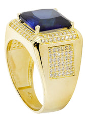 Sapphire & Cz 10K Yellow Gold Mens Ring. | 9.6 Grams MEN'S RINGS FROST NYC