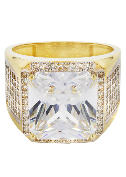 Rock Crystal & Cz 10K Yellow Gold Mens Ring. | 10.43 Grams
