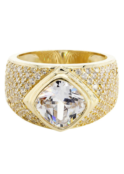 Rock Crystal & Cz 10K Yellow Gold Mens Ring. | 11.4 Grams