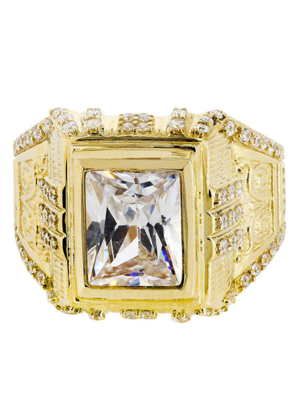 Rock Crystal & Cz 10K Yellow Gold Mens Ring. | 10.3 Grams