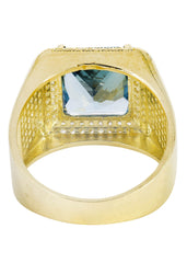 Aqua Marine & Cz 10K Yellow Gold Mens Ring. | 9.2 Grams MEN'S RINGS FROST NYC