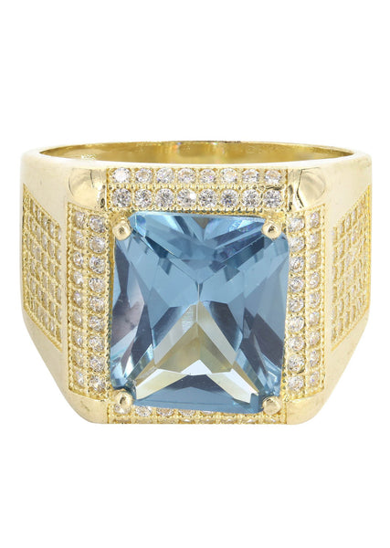 Aqua Marine & Cz 10K Yellow Gold Mens Ring. | 9.2 Grams