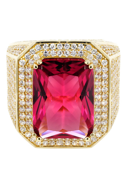 Ruby & Cz 10K Yellow Gold Mens Ring. | 22.1 Grams