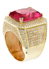 Ruby & Cz 10K Yellow Gold Mens Ring. | 22.1 Grams MEN'S RINGS FROST NYC