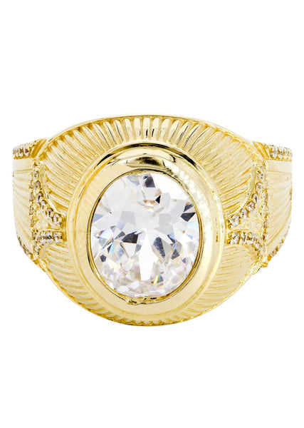 Rock Crystal & Cz 10K Yellow Gold Mens Ring. | 9.5 Grams