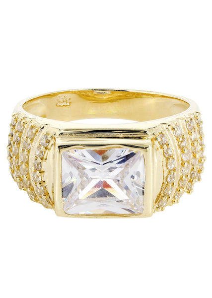 Rock Crystal & Cz 10K Yellow Gold Mens Ring. | 7.8 Grams