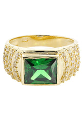 Emerald & Cz 10K Yellow Gold Mens Ring. | 8.1 Grams MEN'S RINGS FROST NYC