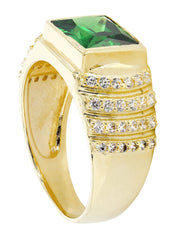 Emerald & Cz 10K Yellow Gold Mens Ring. | 8.1 Grams