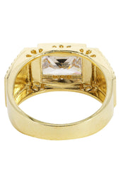 Rock Crystal & Cz 10K Yellow Gold Mens Ring. | 9.3 Grams MEN'S RINGS FROST NYC