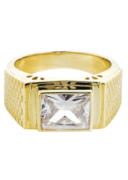 Rock Crystal & Cz 10K Yellow Gold Mens Ring. | 9.3 Grams