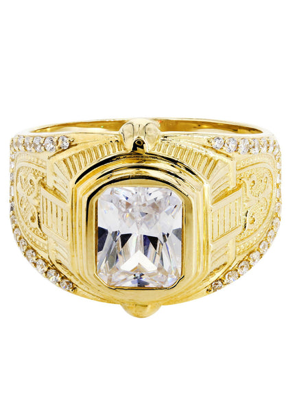Rock Crystal & Cz 10K Yellow Gold Mens Ring. | 8.7 Grams