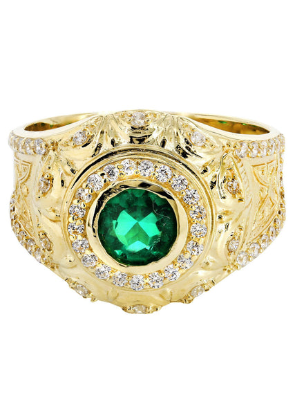 Emerald & Cz 10K Yellow Gold Mens Ring. | 6.6 Grams