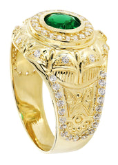 Emerald & Cz 10K Yellow Gold Mens Ring. | 6.6 Grams MEN'S RINGS FROST NYC