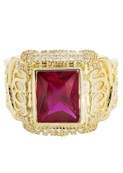 Ruby & Cz 10K Yellow Gold Mens Ring. | 7.1 Grams