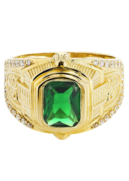 Emerald & Cz 10K Yellow Gold Mens Ring. | 7.2 Grams