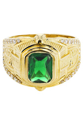 Emerald & Cz 10K Yellow Gold Mens Ring. | 7.2 Grams MEN'S RINGS FROST NYC