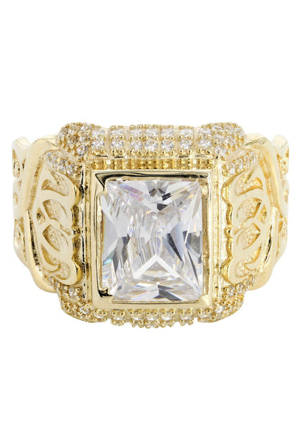 Rock Crystal & Cz 10K Yellow Gold Mens Ring. | 7.7 Grams