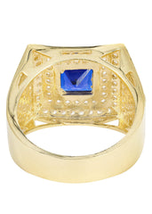 Sapphire & Cz 10K Yellow Gold Mens Ring. | 10.9 Grams MEN'S RINGS FROST NYC