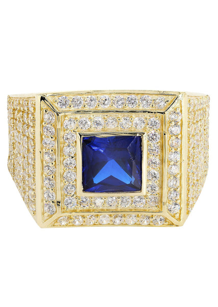 Sapphire & Cz 10K Yellow Gold Mens Ring. | 10.9 Grams