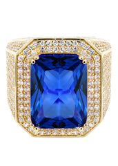 Sapphire & Cz 10K Yellow Gold Mens Ring. | 20.7 Grams MEN'S RINGS FROST NYC