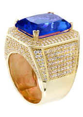 Sapphire & Cz 10K Yellow Gold Mens Ring. | 20.7 Grams