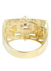 Rock Crystal & Cz 10K Yellow Gold Mens Ring. | 12.9 Grams MEN'S RINGS FROST NYC
