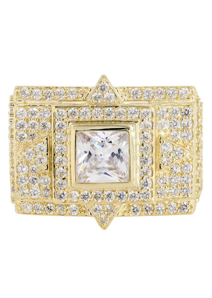 Rock Crystal & Cz 10K Yellow Gold Mens Ring. | 12.9 Grams