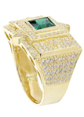 Emerald & Cz 10K Yellow Gold Mens Ring. | 13.3 Grams