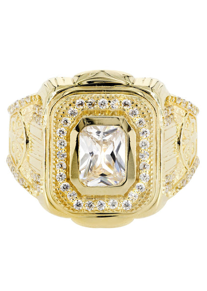 Rock Crystal & Cz 10K Yellow Gold Mens Ring. | 7.9 Grams