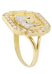 10K Yellow Gold Versace Style Mens Ring | 3.68 Grams