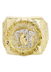 10K Yellow Gold Versace Style Mens Ring. | 6.5 Grams