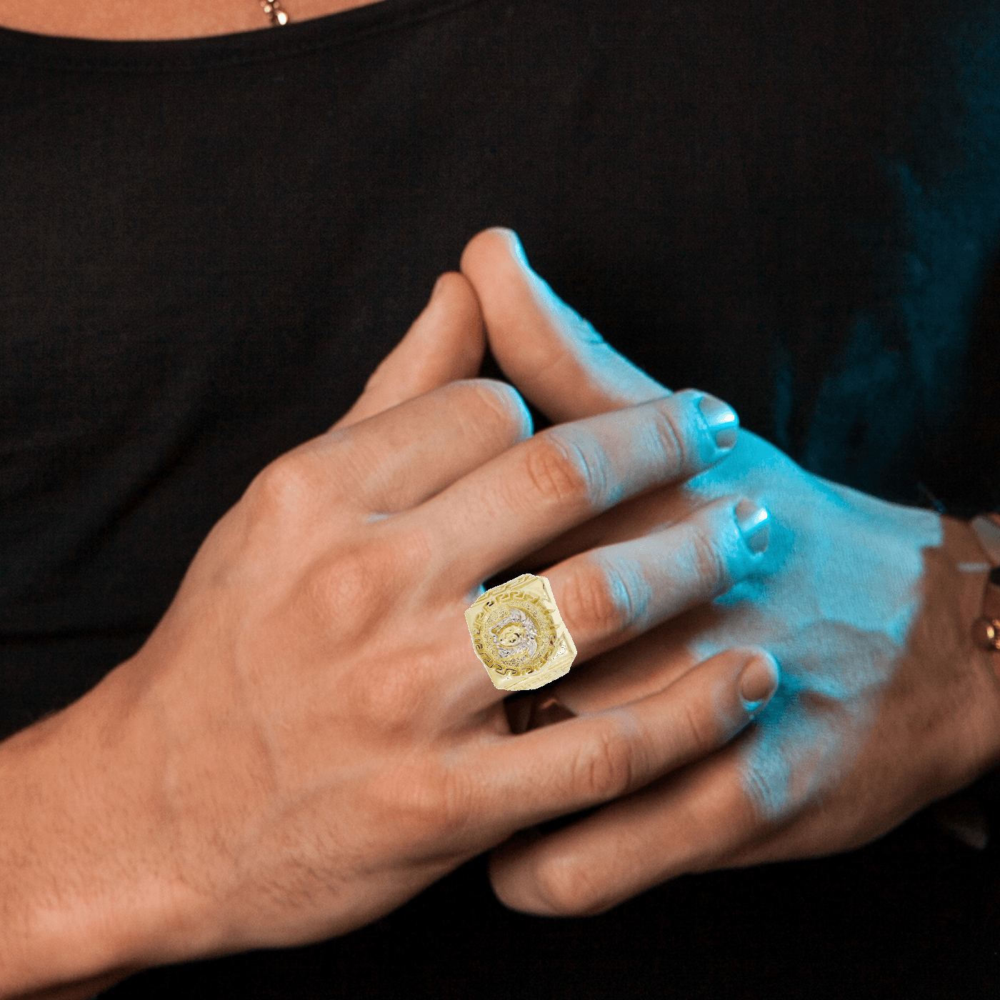10K Yellow Gold Versace Style Mens Ring