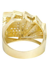 Cards & Cz 10K Yellow Gold Mens Ring. | 9.9 Grams
