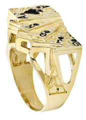 Cards & Cz 10K Yellow Gold Mens Ring. | 9.9 Grams MEN'S RINGS FROST NYC