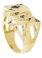 Cards & Cz 10K Yellow Gold Mens Ring. | 12.9 Grams