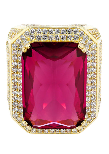Ruby & Cz 10K Yellow Gold Mens Ring. | 26.7 Grams