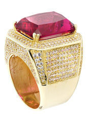 Ruby & Cz 10K Yellow Gold Mens Ring. | 26.7 Grams MEN'S RINGS FROST NYC