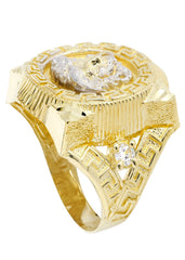 10K Yellow Gold Versace Style Mens Ring. | 8 Grams