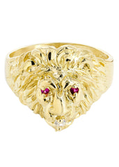 Lion & Ruby 10K Yellow Gold Mens Ring. | 5.8 Grams