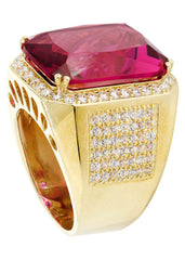 Ruby & Cz 10K Yellow Gold Mens Ring. | 21.8 Grams