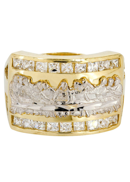 Last Supper & Cz 10K Yellow Gold Mens Ring. | 6.4 Grams