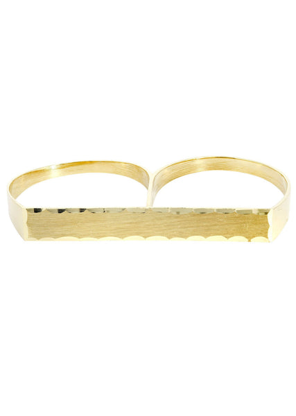 Two Finger & Cz 10K Yellow Gold Mens Ring. | 2.9 Grams