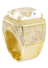 Rock Crystal & Cz 10K Yellow Gold Mens Ring. | 28 Grams MEN'S RINGS FROST NYC