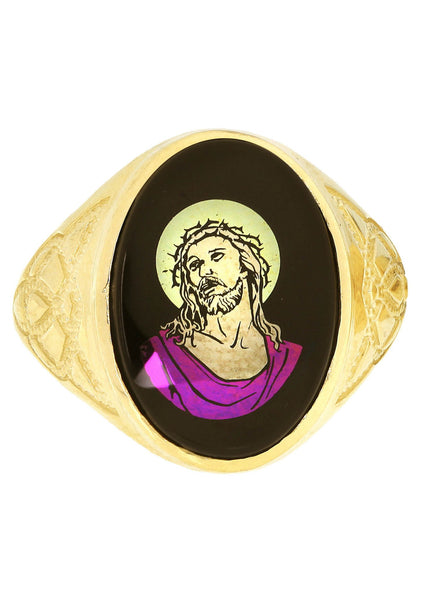 Jesus 10K Yellow Gold Mens Ring. | 5.6 Grams