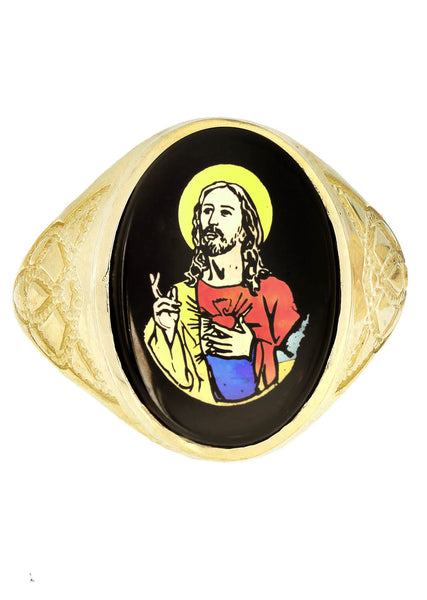 Jesus 10K Yellow Gold Mens Ring. | 6.7 Grams