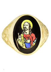 Jesus 10K Yellow Gold Mens Ring. | 6.7 Grams MEN'S RINGS FROST NYC