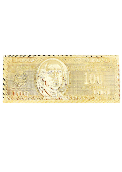 $100 Dollar Bill  10K Yellow Gold Mens Ring. | 18.6 Grams