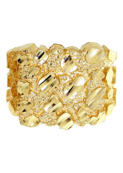Gold Nugget Ring- Mens Ring 10K Gold | 6.9 Grams