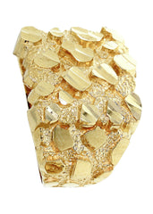 Gold Nugget Ring- Mens Ring 10K Gold | 6.9 Grams MEN'S RINGS FROST NYC