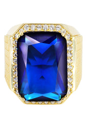 Sapphire & Cz 10K Yellow Gold Mens Ring. | 23.1 Grams MEN'S RINGS FROST NYC